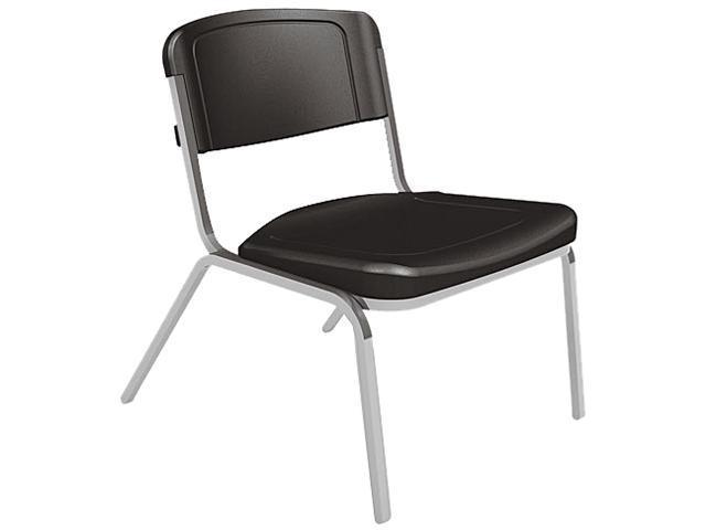 Iceberg 64021 Rough N Ready Big & Tall Stack Chair, Resin, Black, 4/Carton