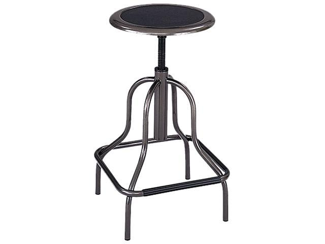 Safco 6665 Diesel Backless Industrial Stool, High Base, Black Leather Seat