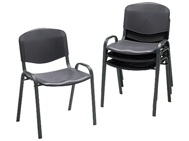 Safco 4185BL Contour Stacking Chairs, Black w/Black Frame, 4/Carton