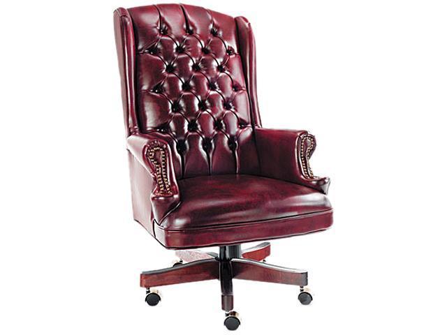 Traditional Series Wing-Back Swivel/Tilt Chair, Mahogany Finish/Oxblood Vinyl