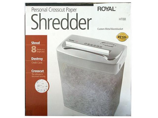 "ROYAL HT88 (29176T) Cross Cut Shredder, 8 sheet capacity, 8.75"" throat width, 5/32"" x 1 3/8"" shreds,"