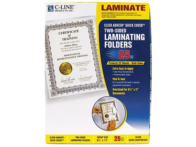 65187 C-Line Quick Cover Laminating Folders, 12 mil, 9 1/8 x 11 1/2, 25/Pack
