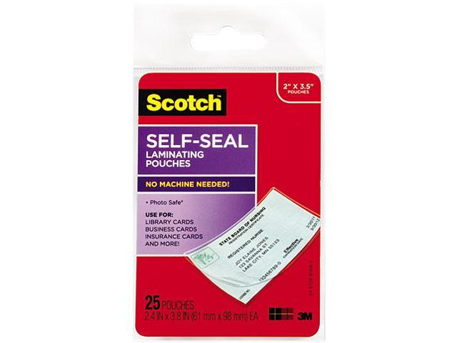 LS851G Scotch Self-Sealing Laminating Pouches, 9.5 mil, 2 7/16 x 3 7/8, Business Card Size, 25