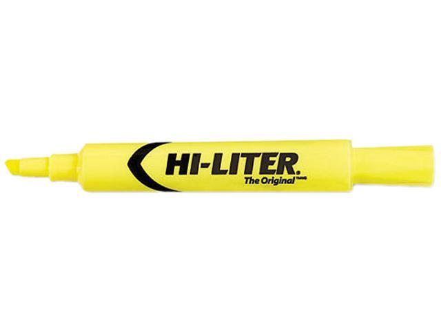 HI-LITER 24000 Desk Style Highlighter, Chisel Tip, Fluorescent Yellow Ink, 12/Pk