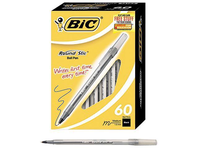 BIC GSM609-BK Round Stic Ballpoint Stick Pen, Black Ink, Medium, 60 per Pack