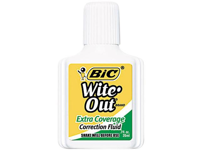 BIC WOFEC12WE Wite-Out Extra Coverage Correction Fluid, 20 ml Bottle, White, 12/Pack