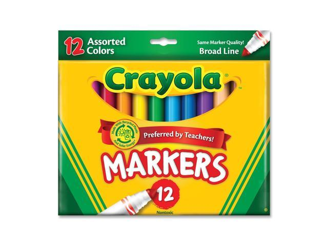 Crayola 58-7712 Non-Washable Markers, Broad Point, Classic Colors, 12/Set
