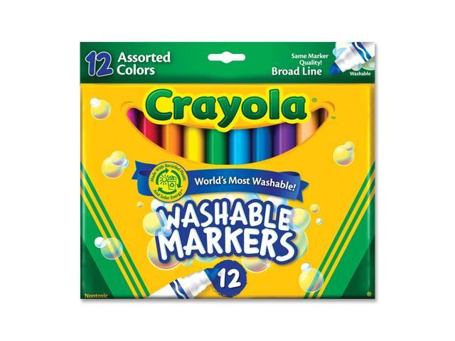 Crayola 58-7812 Washable Markers, Broad Point, Classic Colors, 12/Set