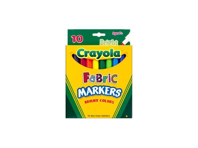 Crayola 58-8623 Fabric Markers, Ten Assorted Bright Colors, 10/Box