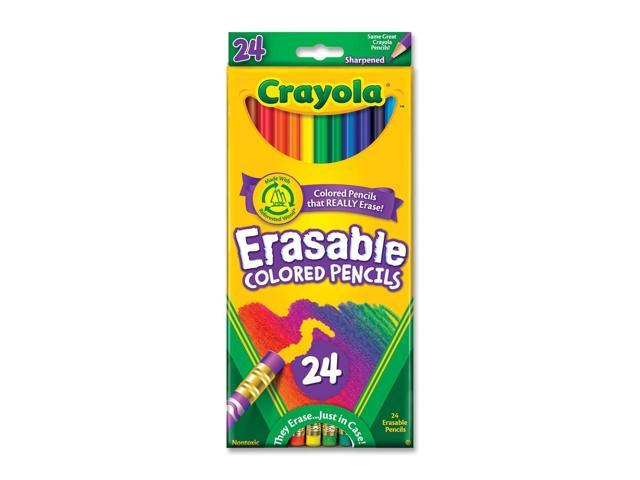 Crayola 68-2424 Erasable Colored Woodcase Pencils, 3.3 mm, 24 Assorted Colors/Set