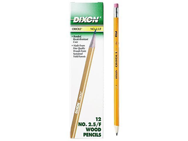 Dixon 12875 Oriole Woodcase Pencil, F #2.5, Yellow Barrel, 12/Pack