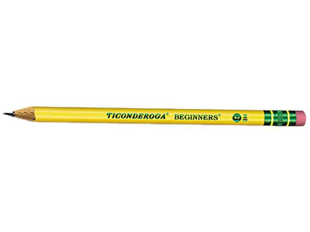 Dixon 13308 Ticonderoga Beginners Wood Pencil w/Eraser, HB #2, Yellow Barrel, Dozen