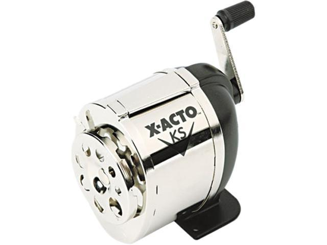 X-ACTO 1031 Model KS Manual Pencil Sharpener, Table- or Wall-Mount, Black/Chrome