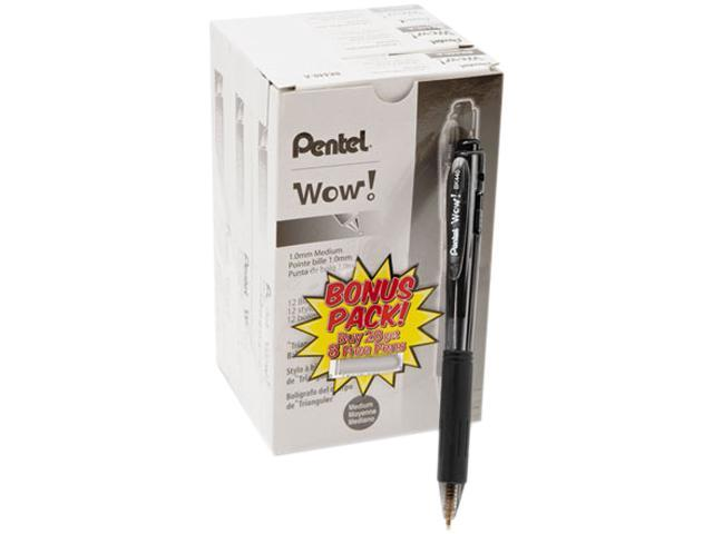 Pentel BK440ASW-US WOW! Ballpoint Retractable Pen, Black Ink, Medium, 36 per Pack