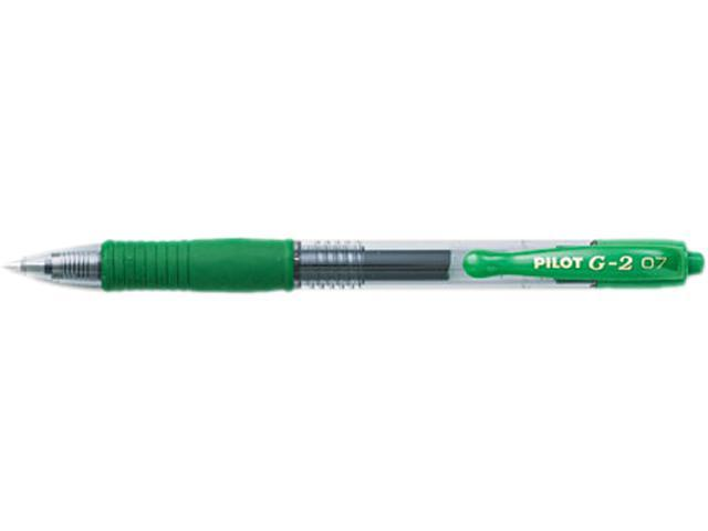 Pilot 31025 G2 Gel Roller Ball Pen, Retractable, Refillable, Green Ink, 0.7mm Fine, Dozen