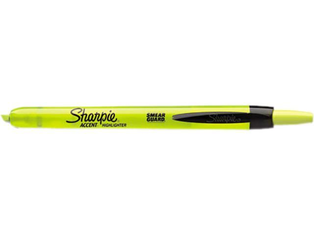 Sharpie 28025 Accent Retractable Highlighters, Chisel Tip, Fluorescent Yellow, 12/Pk