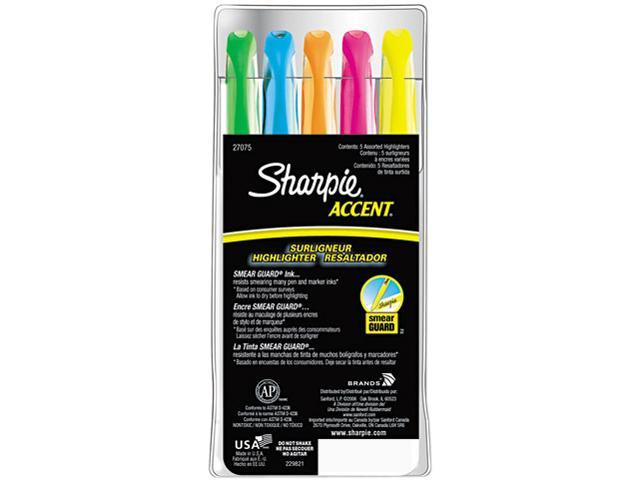 Sharpie Accent 27075 Accent Pocket Style Highlighter, Chisel Tip, Assorted Colors, 5/Set