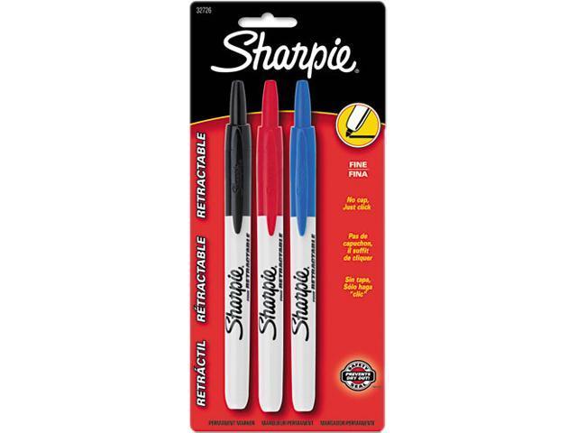 Sharpie 32726PP Retractable Permanent Markers, Fine Point, Assorted, 3/Set