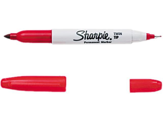 Sharpie 32002 Twin-Tip Permanent Marker, Fine/Ultra Fine Point, Red