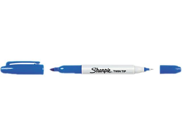 Sharpie, 32003, Twin-Tip Marker, Fine, Ultra Fine Point Type - Blue Alcohol Based Ink - 12/DZ, 1 Dozen