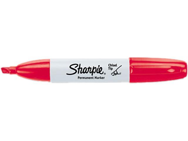 Sharpie 38202 Permanent Marker, 5.3mm Chisel Tip, Red, Dozen