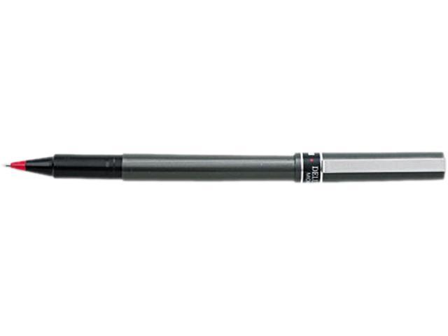 Uni-Ball Deluxe Roller Ball Stick Waterproof Pen, Red Ink, Micro, Dozen