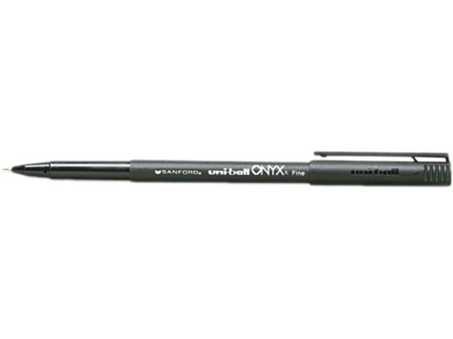 uni-ball 60143 Onyx Roller Ball Stick Dye-Based Pen, Black Ink, Fine, Dozen