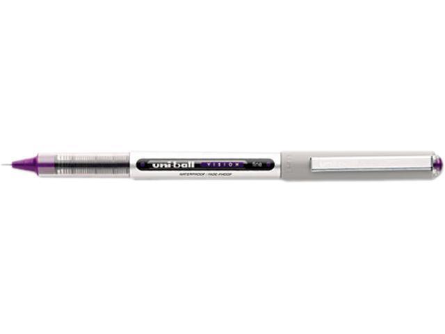 Uni-Ball Vision Roller Ball Stick Waterproof Pen, Majestic Purple Ink, Fine, Dozen