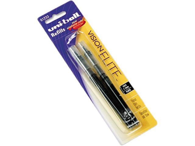 uni-ball 61233PP Refill for uni-ball Vision Elite Roller Ball, Bold, Black Ink, 2/Pack