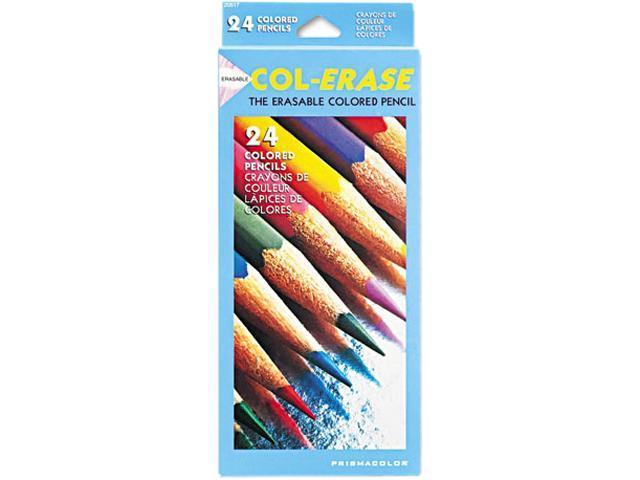 Prismacolor 20517 Col-Erase Colored Woodcase Pencils w/ Eraser, 24 Assorted Colors/Set