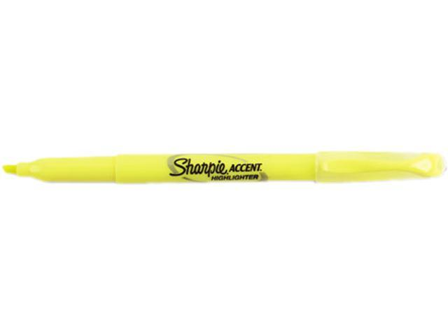 Sharpie Accent Pocket Style Highlighter, Micro Chisel Tip, Fluorescent Yellow Ink (Dozen)