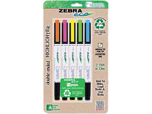 Zebra 75005 Eco Zebrite Double-Ended Highlighter, Chisel/Fine Point Tip, 5/Set