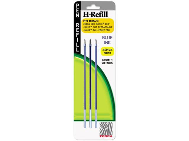 Zebra 85923 H-Refills for Jimnie, Jimnie Clip Retract Ballpoint, Medium, Blue, 3/Pack