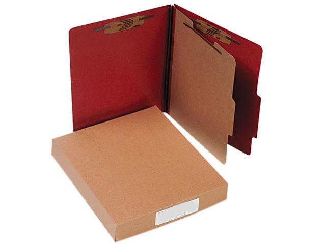 Acco 15034 Pressboard 25-Pt. Classification Folder, Letter, Four-Section, Earth Red, 10/Box