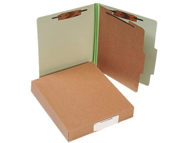 Acco 15044 Pressboard 25-Pt. Classification Folder, Letter,4-Section, Leaf Green, 10/Box