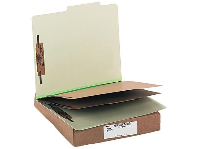 Acco 15046 Pressboard 25-Pt. Classification Folder, Letter, Six-Section, Leaf Green, 10/Box
