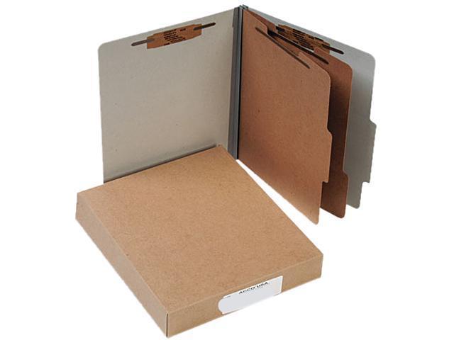 Acco 15056 Pressboard 25-Pt. Classification Folders, Letter, Six-Section, Mist Gray, 10/Box