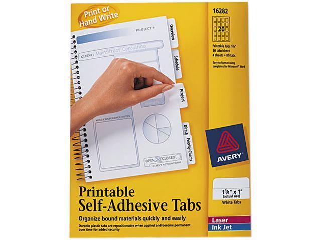 Avery 16282 Printable Repositionable Plastic Tabs, 1 3/4 Inch, White, 80/Pack
