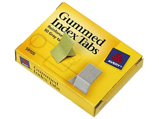Avery 59105 Gummed Index Tabs, 7/16 x 13/16, Gray, 50/Pack