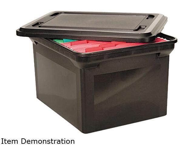 Advantus 34052 File Tote Storage Box w/Lid, Legal/Letter, Plastic, Black
