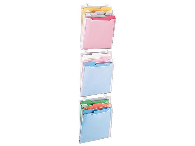 Advantus 75316 Transparent Three Pocket Panel Wall Organizers, Letter, Clear