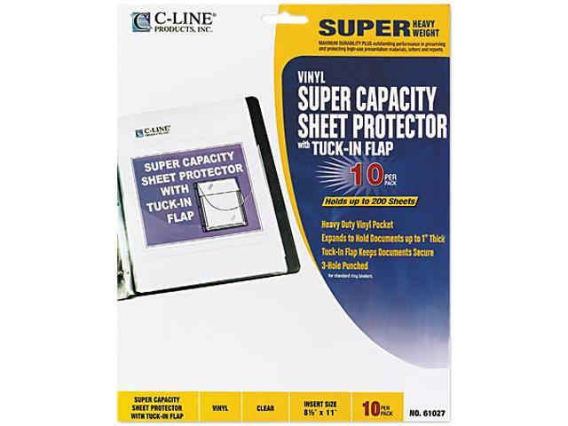C-line 61027 Super Capacity Sheet Protector with Tuck-In Flap, Letter, Vinyl, Clear, 10/Pack