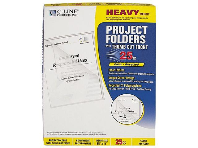 C-line 62127 Project Folders, Jacket, Letter, Poly, Clear, 25/Box
