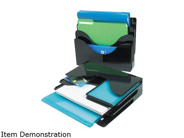 Deflect-o 390204 Three-Tier Document Organizer, Plastic, 13 3/8 x 3 1/2 x 11 1/2, Black