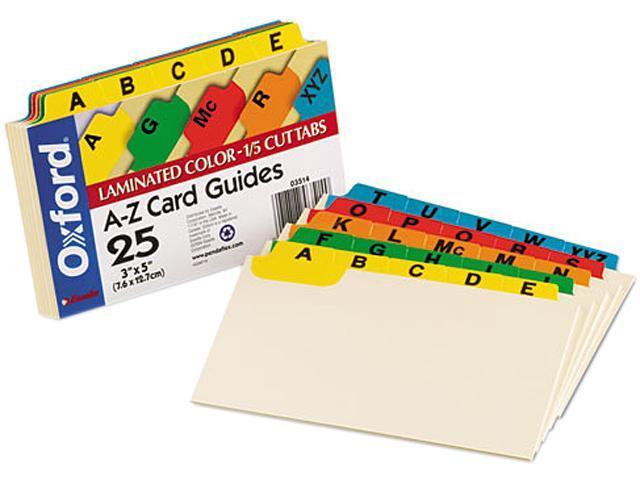 Oxford 03514 Laminated Index Card Guides, Alpha, 1/5 Tab, Manila, 3 x 5, 25/Set