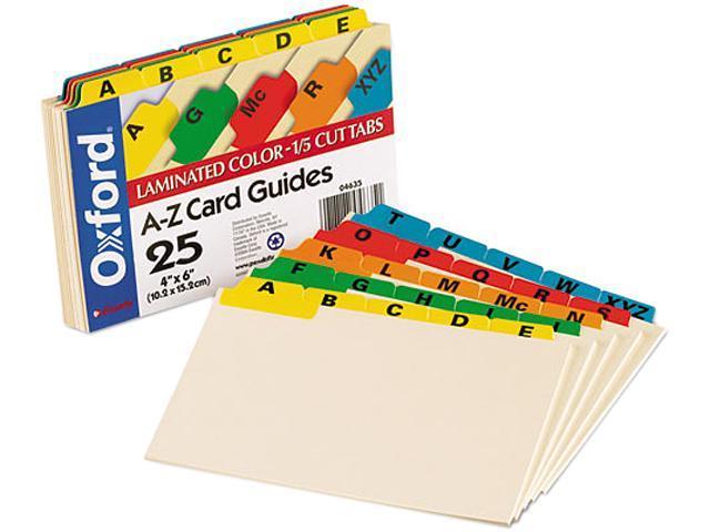 Oxford 04635 Laminated Index Card Guides, Alpha, 1/5 Tab, Manila, 4 x 6, 25/Set