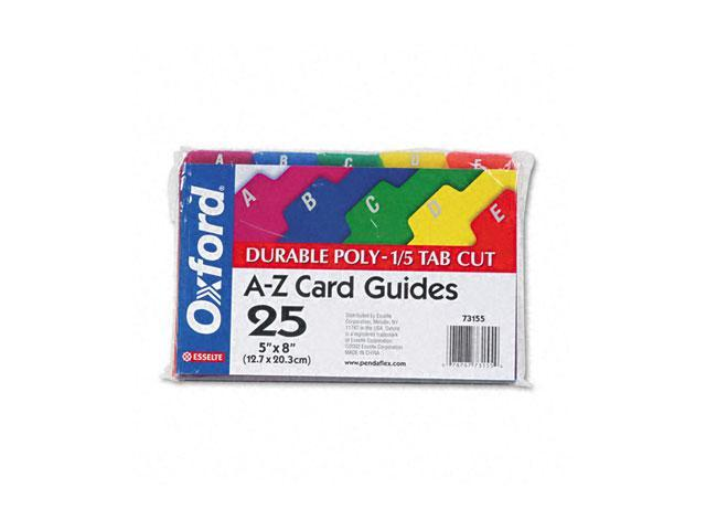 Oxford 73155 Card Guides, Alpha, 1/5 Tab, Polypropylene, 5 x 8, 25/Set