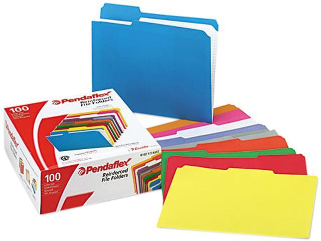 Pendaflex R15213ASST Two-Ply Reinforced File Folders, 1/3 Cut Top Tab, Letter, Assorted, 100/Box