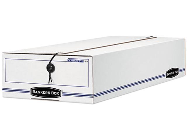 Bankers Box 00003 Liberty Storage Box, Card Size, 6 x 23-1/4 x 4-1/4, White/Blue, 12/Carton