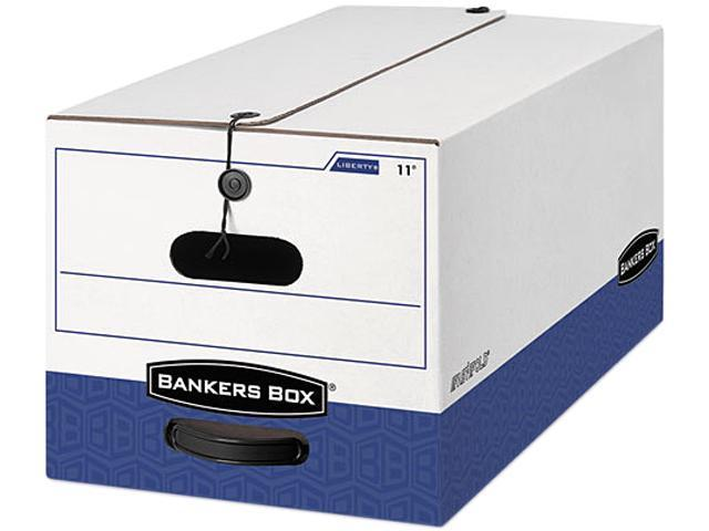 Bankers Box 00022 Liberty Storage Box, Record Form, 9-1/2 x 23-1/4 x 6, White/Blue, 12/Carton